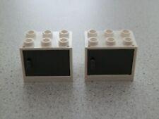 Lego 4532+4533 # 2x Container Box 2x3x2 Weiß Weiss  mit Tür neu dunkelgrau