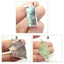 Natural Fire Labradorite Slice Silver Electroplated Fancy Pendant