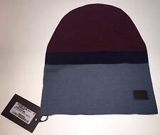 Gucci Beanie Cap Ski Knit Wolle Hut Burgund Blau Grau 353999 M Medium