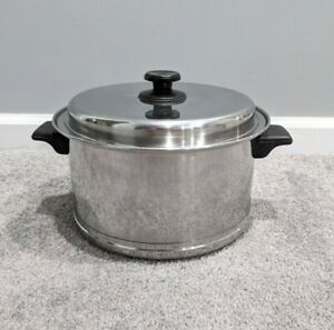 Vtg Lifetime Cookware Stainless Steel 6 Quart Stock Pot with Lid by West Bend