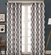 Madison Park Roku Grey Dot Print Curtain Window Panel 84L New