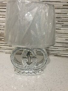 Crushed Diamond Silver LED Bling Table Lamp Shade Glitter romany sparkly 15""