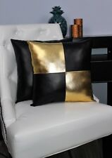 Gold Black Accent Decorative leather pillow throw case cover cushion couch