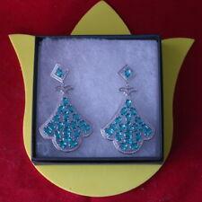 BigHeavy20.9g Pretty Long Big Rich Blue Aquamarine CZ Silver Earrings In Box