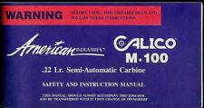 American Calico M-100 22 Cal LR Semi Auto Carbine Rifle Factory Owner's Manual