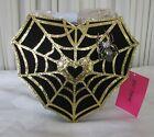 Betsey Johnson Kitsch Halloween Crossbody Bag Spider Web Surfer Rhinestone NWT
