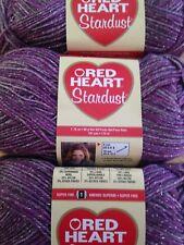 Red Heart Stardust Yarn   Lot of 3  PURPLE   #1 Super Fine   Washable Wool Blend