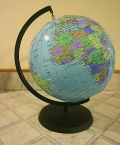New Replogle 12 Inch Inflatable Desktop World Globe with stand             #2203