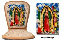 Genuine Mexican Respaldo Leather Car Seat Cushion Cover Virgin Mary Colored