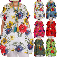 Plus Size Women Short Sleeve Loose Top Floral Blouse Summer Casual Tunic T Shirt