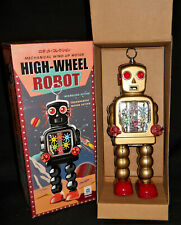 "High-Wheel Robot Transparent Motor Action 10"" Tall Tin Wind-Up Ha Ha Toy NIB"