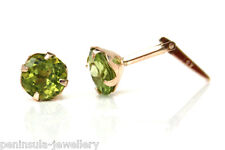 9ct Gold 5mm Real Peridot Andralok Stud Earrings Gift Boxed