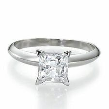 .50ct HALF CARAT H/I1 PRINCESS-CUT DIAMOND 14K GOLD SOLITAIRE ENGAGEMENT RING