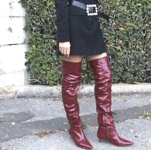 ZARA NWT 2020 WOMAN LEATHER HIGH-HEEL BOOTS /& PATENT FINISH RED 37 5015//001