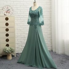 Real Photo Long Mother of the Bride Dress 3/4 Sleeves Lace Chiffon A Line