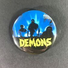 "Demons 2.25"" Large Button Pin Horror Cult Classic Heavy Metal Accept Saxon"