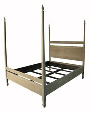 "86"" Bed Mahogany Solid Wood Queen Weathered Grey Finish High Post"