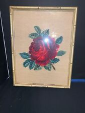 Vintage 1970's Needlepoint Picture of Roses Bamboo Style Frame Vgc