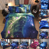 Galaxy Comforter Set Reversible Quilt Sky Outer Space Bedding Fitted Sheet Set