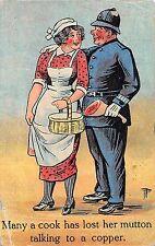 POSTCARD   COMIC   Policeman  Cook    Mutton