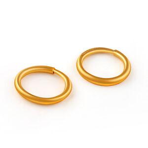 Pure 999 24K Yellow Gold Earrings Women Luck Smooth Hoop Earrings 1-1.3g 11mmW