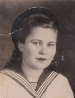 1948 Beautiful young woman sailor recruit army fashion old Soviet Russian photo