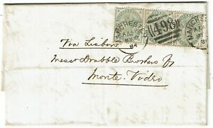 1884 Manchester cancel on cover to URUGUAY, strip of 3 SG 192, 770+ pounds