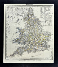 1847 Flemming Map  England Wales London Cornwall Bristol Liverpool Manchester UK