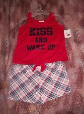 Women's Pajama Set: Shorts and Tank Top Red Plaid Kiss & Wake Up ~ Size M ~