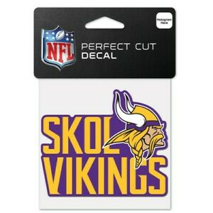 """MINNESOTA VIKINGS PERFECT CUT DECAL 4""""X4"""" FOR WINDOWS NFL LICENSED USA SELLER"""