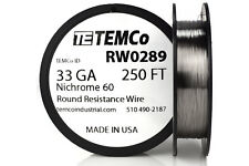 TEMCo Nichrome 60 series wire 33 Gauge 250 Ft Resistance AWG ga