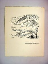 1930-40's C.Palmer Ink Drawing of Katahdin Peak from Sentinel (South), Maine