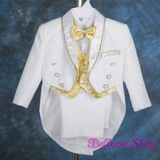 5pc White Gold FORMAL Tuxedo Suit Vest Wedding Christening Baby Sz 12-18m ST015A