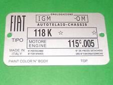 Targhetta dati Fiat 1500 Cabriolet (Tipo 118K)