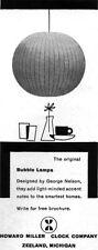 Howard Miller GEORGE NELSON Bubble Lamp MID CENTURY MODERN 1957 Magazine Ad