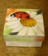 "Kubla Crafts CAPIZ box #KC1708 LADYBUG on FLOWER, 1.5"" x 3"" From Retail Store"