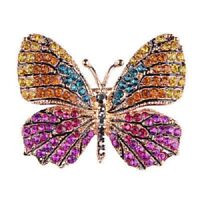 UK Beautiful Gold plated crystal butterfly colourful Brooch Hijab Pin Gift 7055