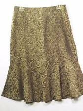 Ideology 8 Brown Paisley Tapestry Patterned Flared Skirt Full