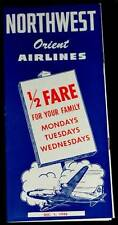 1948 NORTHWEST AIRLINES ROUTE MAP & FARES & TIMES SCHEDULE