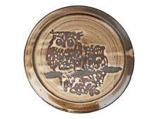 "BRIGLIN Pottery Wax Resist Plate OWLS Design 10"" Diameter"