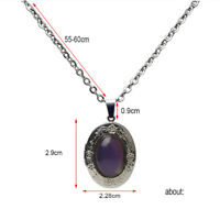 Hot Vintage Oval Stone Color Change Emotion Mood Pendant Chain Necklace Gift