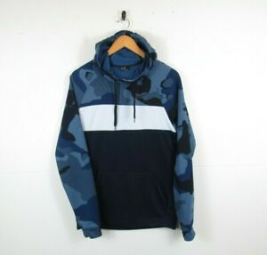 NIKE Dri-Fit Men's Blue Camouflage Long Sleeve Pullover Hoodie Exercise Gym | S