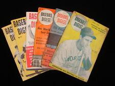 Lot of 6 Different, Original Baseball Digest Booklets – 1946, 51, 55, 56