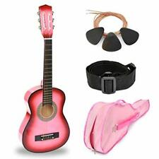 """New 30"""" Wood Guitar with Case and Accessories for Kids Beginners - Pink"""