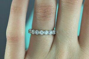 Tiffany Co 3.5mm 0.91ct Platinum 7 Diamond Embrace Wedding Band Ring Sz 6