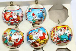 VTG 80s Rauch Satin Christmas Ornaments Santa & Elves Santas Workshop Lot of 5