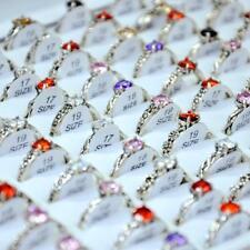 60pcs Zircon Ancient Silver Flower Alloy Rings Women Girls wholesale jewelry BFP