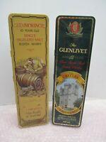 PAIR OF EMPTY WHISKEY TINS SCOTLAND GLENMORANGE GLENLIVET SCOTCH BARRINGER