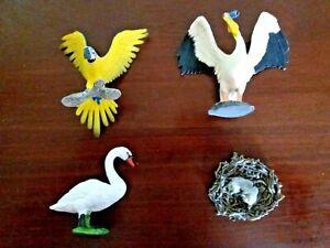 SCHLEICH Birds x 4 Pelican Swan Macaw Eagle Nest