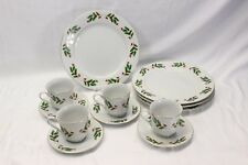 Xmas Holly Berry Fine China Dinner Plates Cups Saucers Set of 12